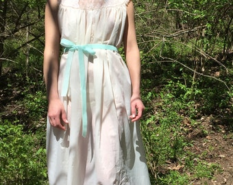 Small vintage nightgown Lord and Taylor with aqua velvet tie