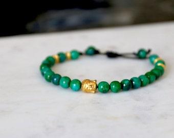 Men's Leather Green Azurite Bracelet with Gold Accents - Adjustable - Birthday Gift  Boyfriend, Anniversary Gift for Boyfriend, Husband