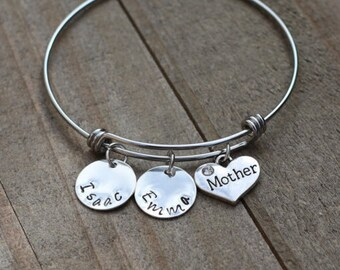 Mother gift, Mother bracelet, Personalized Mother Bracelet, Customized Bangle Bracelet, Kids names bracelet, Christmas present