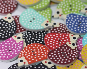 Hedgehog Buttons, Spotty Hedgehog Buttons, Colourful Hedgehog Buttons, Animal Buttons, Knitting, Crochet, Sewing, Craft, Card Making