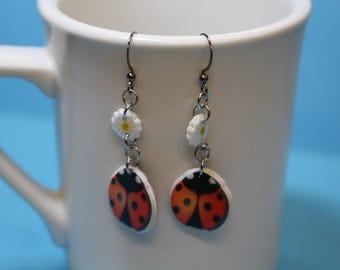 Cute ladybug and daisy earrings