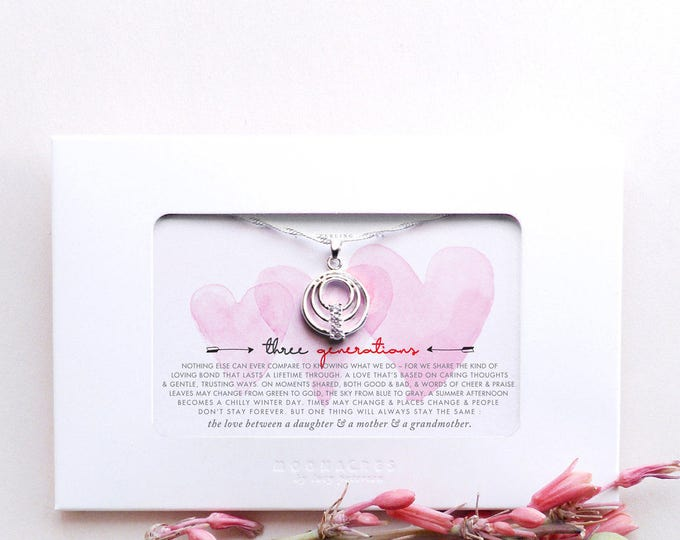 Three Generations | Mother Daughter Grandmother | Sterling Silver Linked 3 Circles Necklace | Poem Quote Message Card | Mother's Day Gift