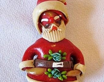 Vintage Brown Salt Dough Gingerbread Santa Claus Christms Ornament