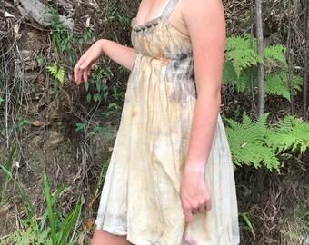 Woodland festival dress, natural dye silk/cotton 'woodland dreams'