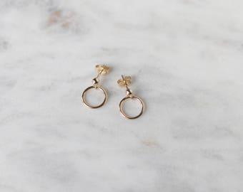 Gold Stud Earrings - Minimalist Earrings - Geometric Earrings - Gold Circle Earrings - Hoop Earrings - Everyday Jewelry - Gift for Her