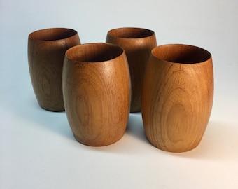Danish modern teak tumblers