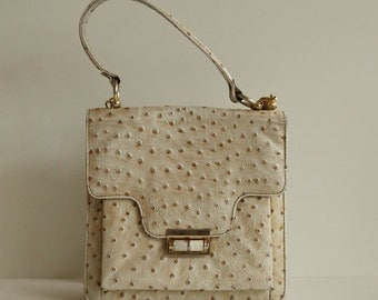 Genuine Beige Ostrich Leather Handbag