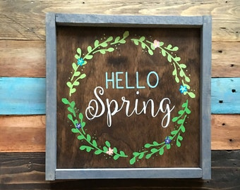 Hello Spring Sign Front Door Sign Welcome Sign Pallet