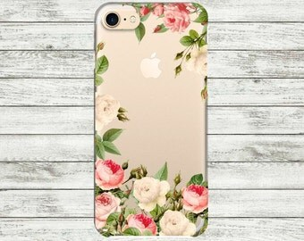 Case iPhone 7 Plus with design floral Roses iPhone 7 case clear Transparent iPhone 5, 5s, SE, 6, 6s, 6 Plus Case Silicone iPhone case.