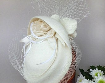 Romantic bridal Hat ivory wedding broad brim Fedora cocktail Hat hand felted elegant festive with Hat NET veil