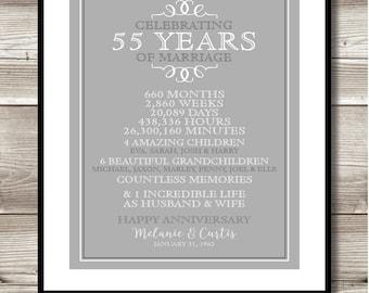 55 Year Anniversary Digital print; gift 55th Anniversary present; Personalized; milestone; keepsake gift