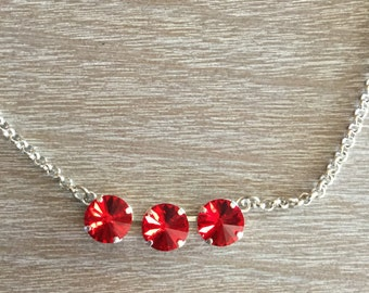 12MM Swarovski Siam (Red) Necklace