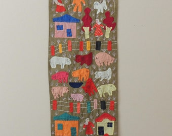 Vintage Folk Art Embroidery, wall hanging, old textile, wall tapestry, large textile wall art