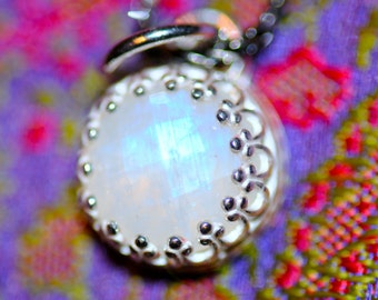 Rainbow moonstone pendant;  moonstone necklace, sterling silver setting, crown gallery setting