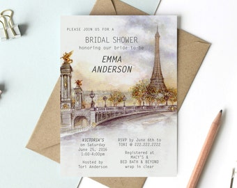 Bridal Shower / Wedding Parisian Invitation Printable