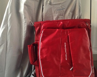 Piquadro red backpack for notebook, vintage office briefcase, trekking backpack