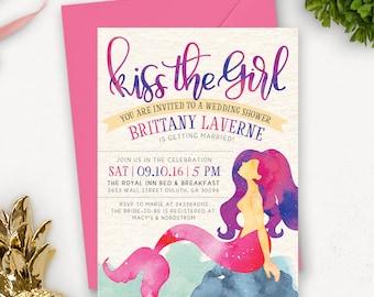 Watercolor Bridal Shower Invitation Printable | Mermaid Bridal Shower Invitation Printable | Printable Wedding Shower Invites