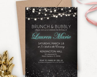 Brunch and Bubbly Invitation / Rustic Printable Birthday Invitations for Women / Surprise Birthday Invitations