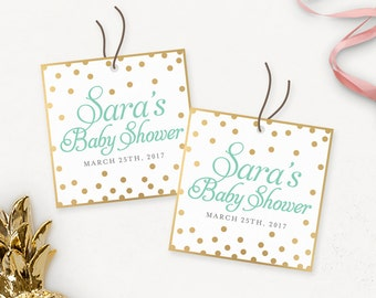 Gold Glitter Baby Shower Printable Thank You Tags / Custom Baby Shower Favour Tags / Gold Thank You Tags Printable / Shower Favors