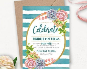 Succulent Printable Birthday Invitations for Girls / Watercolor Birthday Invites / Stripe Birthday Party Invites