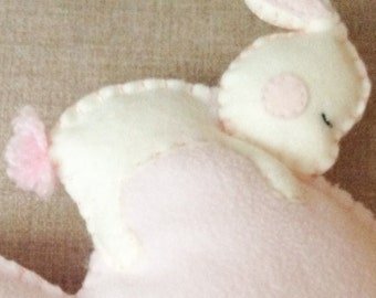 Decorative heart to hang in your room with fleece and felt made Bunny hugged