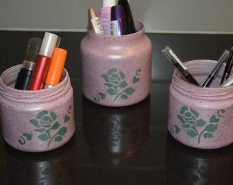 Make Up Brush Holder Set of 3 Bathroom Accessories Organizer Desktop Organizer Pencil Holder Gift For Her Office Accessories Vase