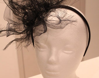 Black crinoline fascinator / headpiece / headband, ideal for the races