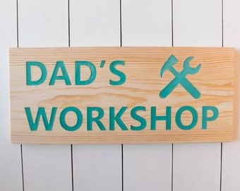 Workshop sign, dad's workshop, gift for dad, garage decor, personalized workshop sign, funny wooden sign, Fathers day gift, grandpa gift