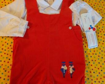 Vintage Infant Toddler Boys Outfit ~ Red Velour ~ Jon Jon Shortalls ~ Boys Jumper ~ 24 Months ~ Holiday Baby Clothes ~ NOS ~ Unworn ~ Retro