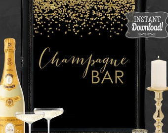 Champagne Bar Gatsby Gold Confetti Party Poster - INSTANT DOWNLOAD - Printable Party Wedding & Birthday Art Deco 1920s Bar Champagne Sign