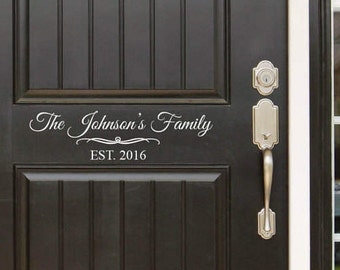 Family Name and Est Year  Front Door (Entryway) or Wall Vinyl Decal Sticker - Great Gift Idea / Home Decor