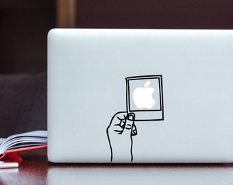 Shake it like a Polaroid Glowing Apple MacBook Decal / Polaroid picture Laptop Decal / iPad Decal vinyl sticker