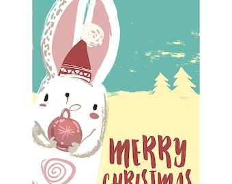 Christmas Card - Cute Rabbit Merry Christmas Festive Blank Card CP3138