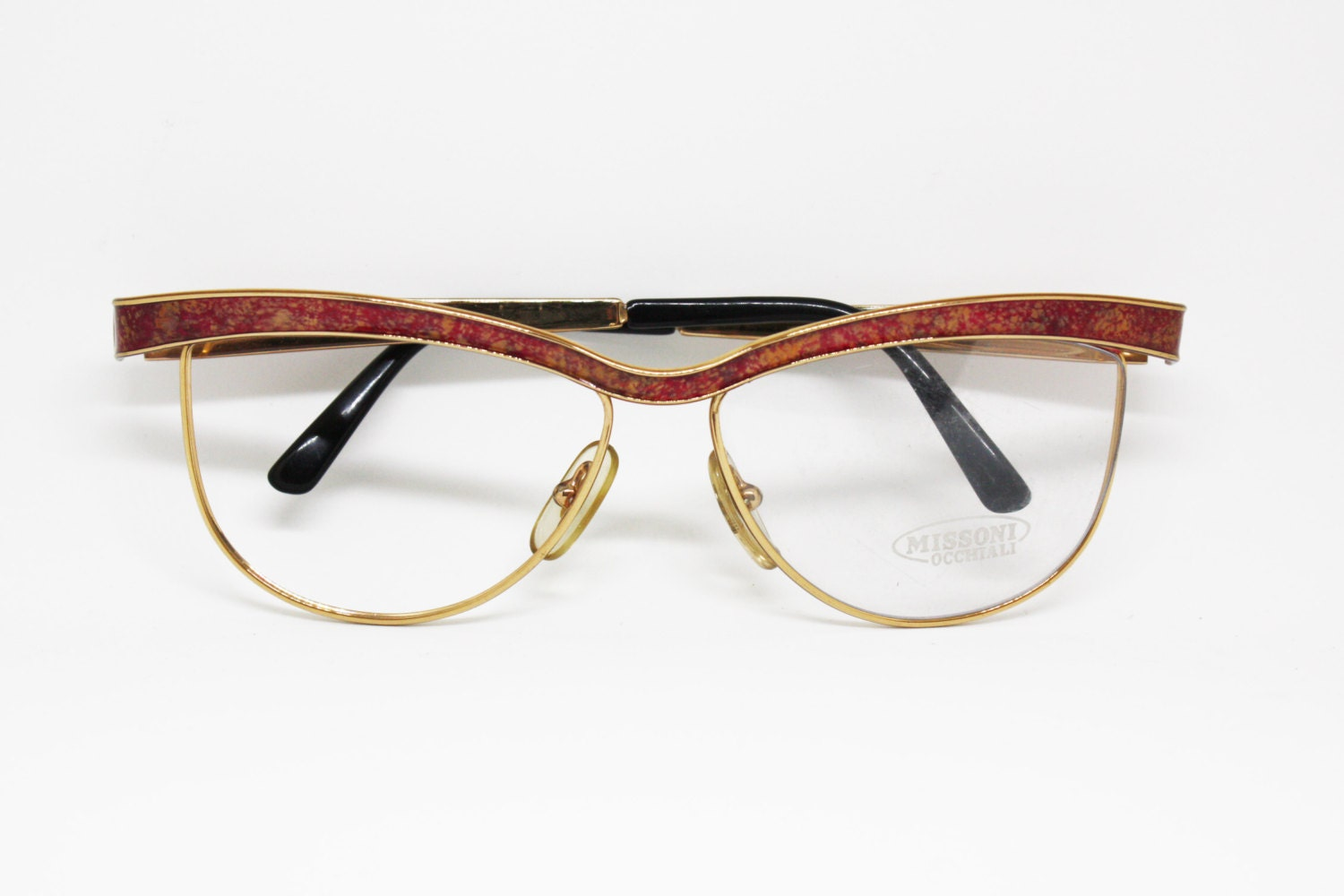 7d2b1c75e1a MISSONI M 300 half lunettes eyewear ladies woman glasses golden metal frame  detailled aged red effect