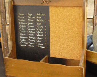 Vintage Wooden Market Minder with Cork Board, Nevco, Wood Peg Board, Supermarket List, Wall Mount, Farmhouse Country Decor, Counter Top Bin