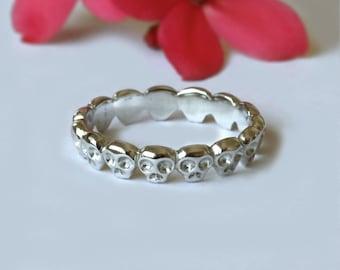 14K White Gold Skull Ring, Skull Wedding Band, Skull Wedding Ring, Fine Jewelry, Gothic Wedding Ring, Eternity Ring, Unique Wedding Band