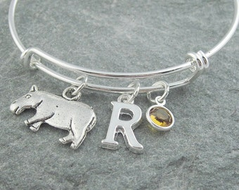 Hippo bracelet, silver hippo jewelry, animal jewelry, initial bracelet, swarovski birthstone, personalized jewelry, charm bangle, monogram