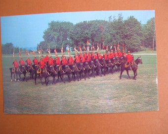 1960's Royal Canadian Mounted Police Musical Ride postcard / RCMP Canada souvenir postcard / Canada 150