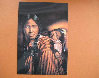 Indian Mother and Child art postcard (unposted) / Miguel painting postcard / Canadian North postcard