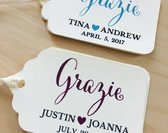 GRAZIE Tags,GRAZIE Wedding Favor Tags,Wedding Tags,Bridal Shower Favor Tags Custom Tags,GRAZIE Favor Tags,Engagement Party Tags