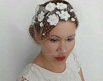 Bird Cage veil Headpiece, Flower Veil, Bridal Birdcage Veil, Floral Bridal Ivory Veil, Floral Veil