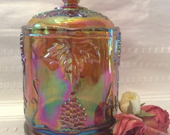 Late Carnival glass Indiana Yellow gold iridescent Harvest grape pattern jar