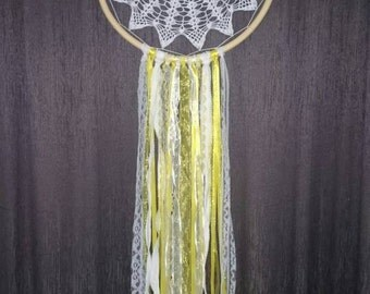 Yellow and white vintage dream catcher