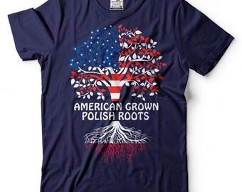 American Grown Polish Roots T-Shirt American Polish Patriotic Tee Shirt