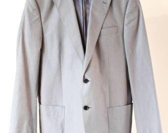 """M & S Vintage Men Cotton Blazer, Soft Blue Cotton Men Blazer, 42"""" Long Men Blazer - Excellent Condition"""