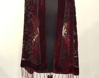 Gorgeous Vintage Black and Burgundy Burnout Velvet Gypsy Fringe Oblong Stole