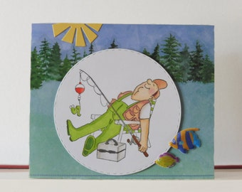 Fisherman card - Retirement card - Bland double greeting card - Hand colored - Main card color is apple green