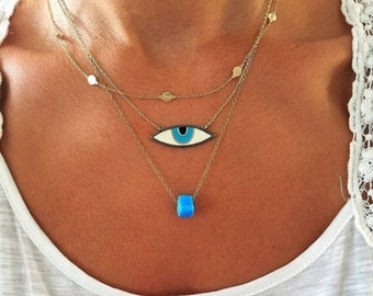 Evil Eye Necklace, Evil Eye Charm Necklace, Gold Necklace, Dainty Eye Necklace Gold, Turquoise Pendant,  Delicate Necklace, Made in Greece.
