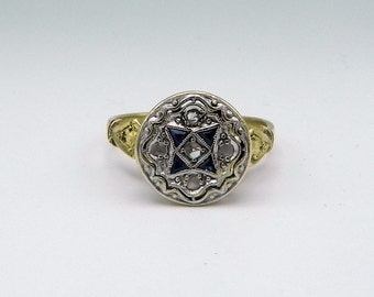 Antique Art Deco Style Ring in Platinum 18k Gold Diamonds and Sapphires.