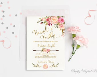 Floral Bridal Shower Invitation Printable Boho Bridal Shower Invite Spring Bridal Party Summer Bridal Shower Gold Invite Brunch and Bubbly